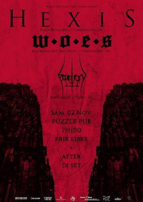 Hexis + WOES + Expiation au Puzzle Pub Tours le 2 novembre 2019