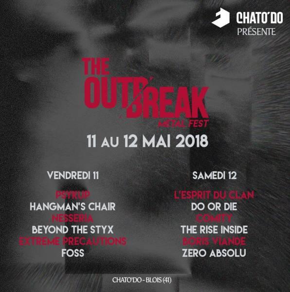 Outbreak Festival #2 à Blois les 11 et 12 mai 2018 : l'affiche complète  (actualité)